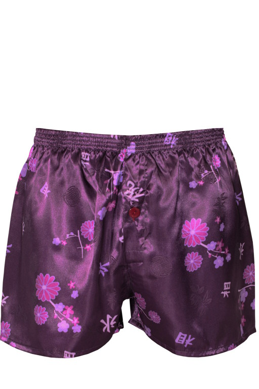 Boxerky na spaní saténové L tmavě fialová