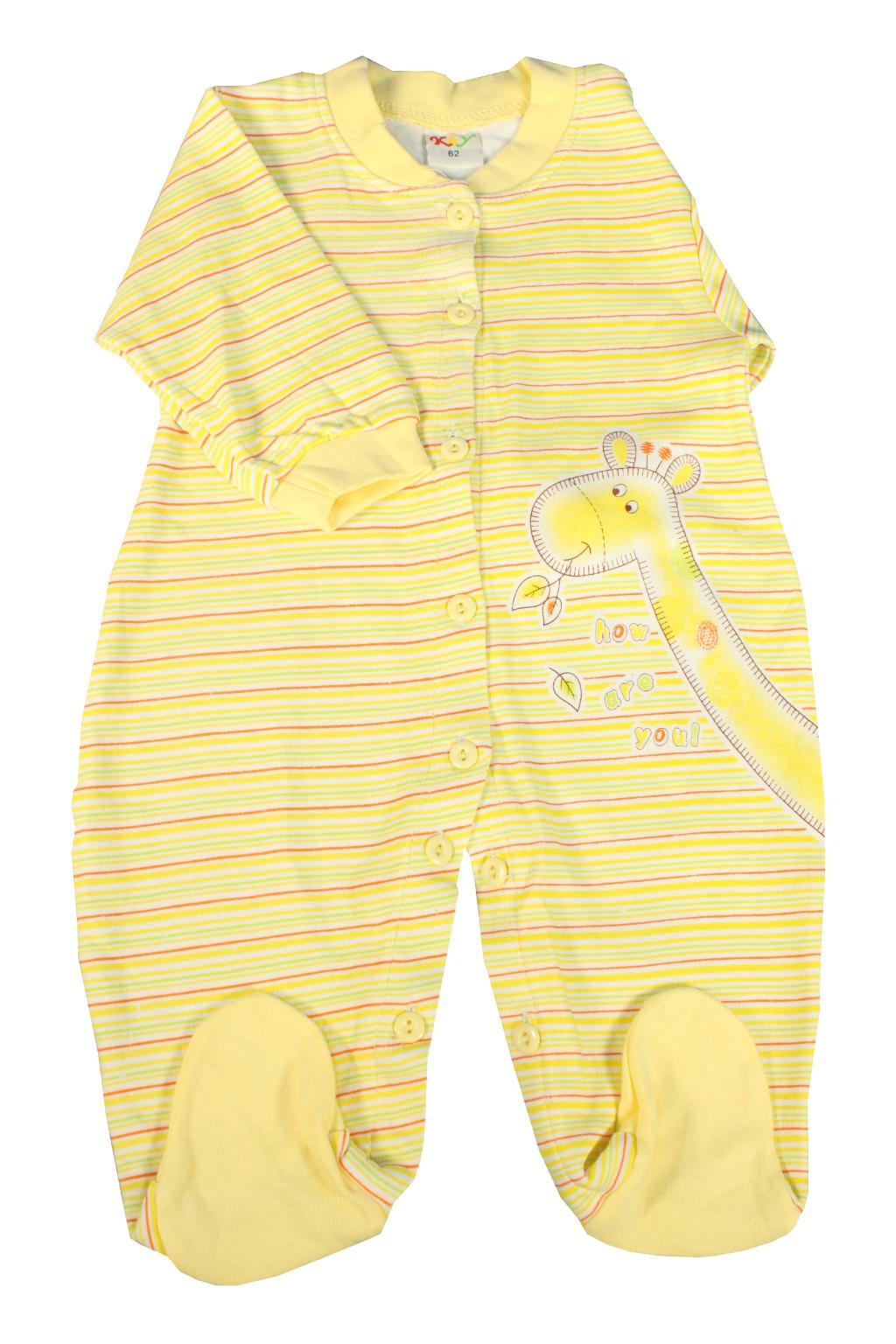 Baby Yellow proužkovaný dětský overal 0-3 měs žlutá