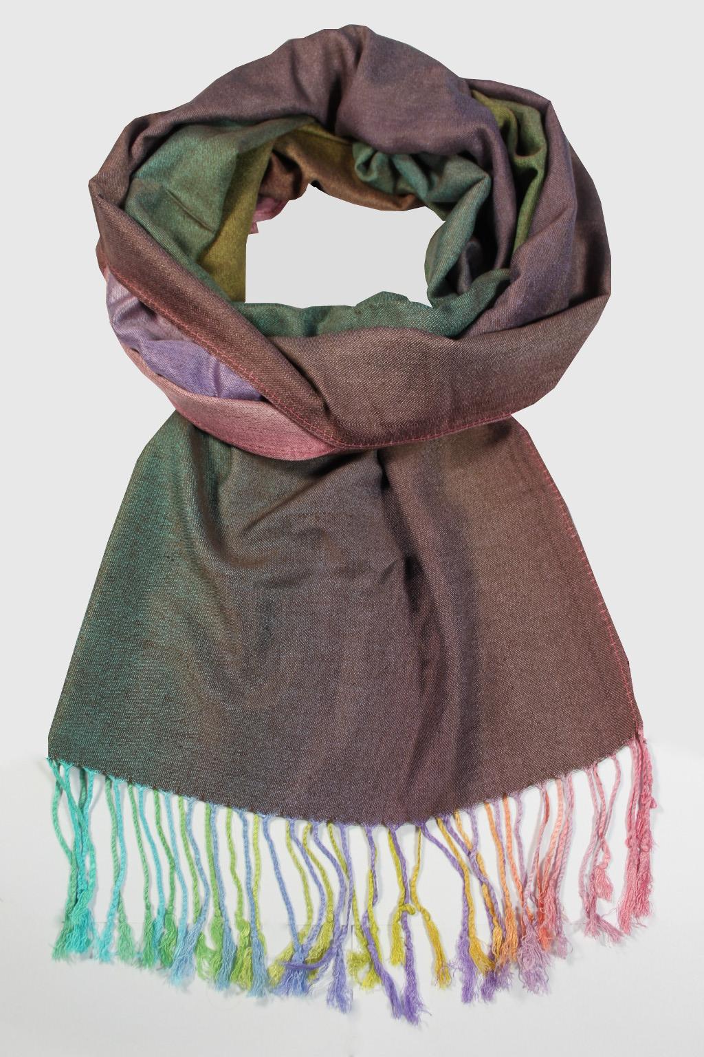 Rainbow - elegantní šála hnědá f37b2453ea