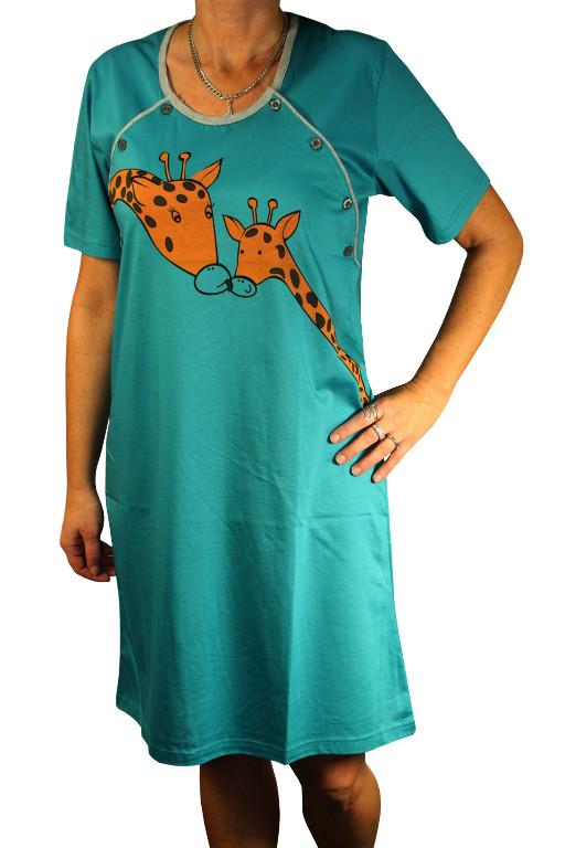 Giraffe noční košile pro kojící L petrolejová