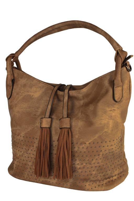 Mitzy elegantní kabelka - vak světle hnědá