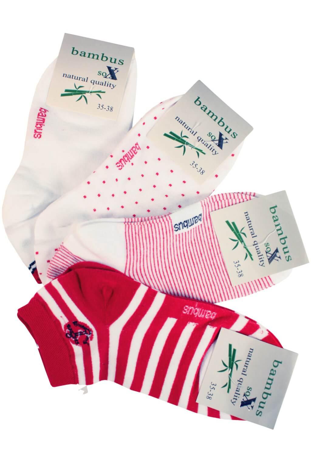 Summer Bamboo nízké ponožky pro ženy - 3páry 35-38 červená