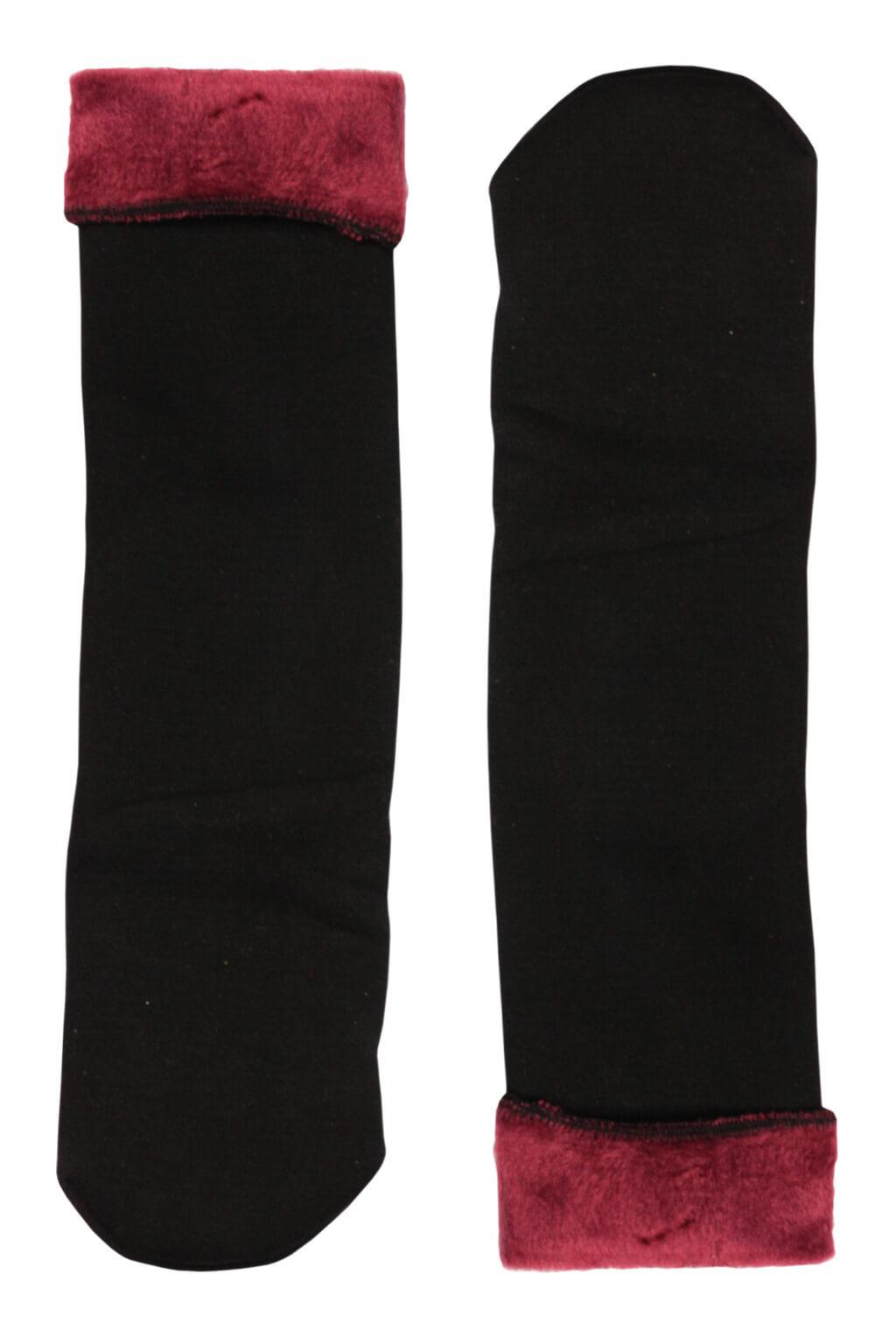 Sněhové dámské ponožky plyšové černá