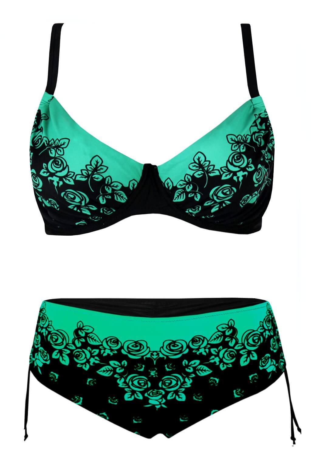 240f6955f754 Green Rose dvoudílné plavky pro plnoštíhlé S850 3XL zelená
