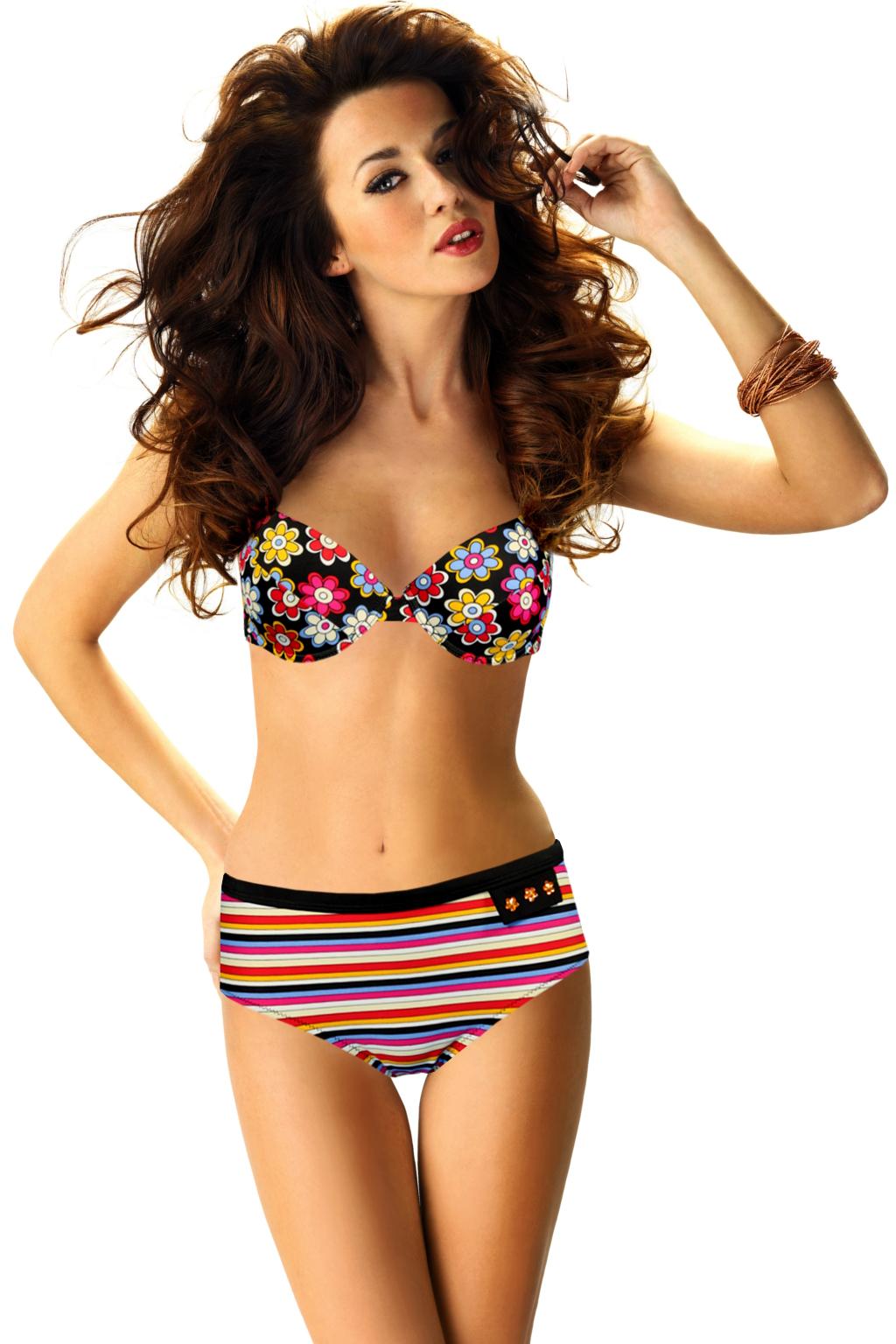 La Furia Black dvojdílné plavky s kosticí M růžová