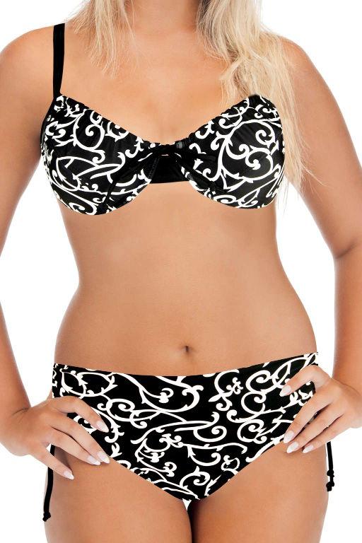 Nice Beach 2017 dvojdílné plavky s kosticí 4XL černá